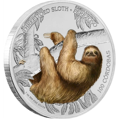 2018 Nicaragua C$100 Wildlife - Three-Toed Sloth Silver Proof (No Tax)