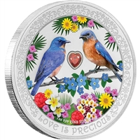 2019 Niue $2 Love is Precious - Bluebirds 1oz. Silver (No Tax)