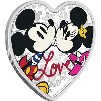 2019 Niue $2 Disney - Love 1oz. Heart-Shaped Silver Proof (No Tax)