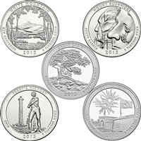 2013 US National Parks Quarter Set - P&D Singles (total of 10 coins)