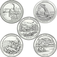 2014 US National Parks Quarter Set - P&D Singles (total of 10 coins)