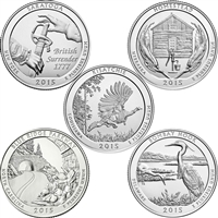 2015 US National Parks Quarter Set - P&D Singles (total of 10 coins)