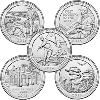 2016 USA National Parks Quarter Set - P&D Singles (total of 10 coins)