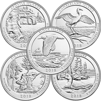 2018 USA National Parks Quarter Set - P&D Singles (total of 10 coins)