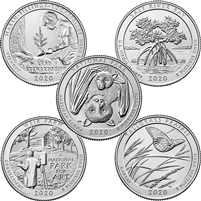2020 US National Parks Quarter Set - P&D Mints (total of 10 coins)
