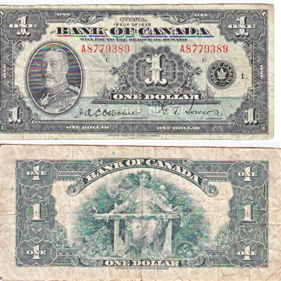 BC-1 1935 Canada $1 Osborne-Towers, English, Series A, F-VF