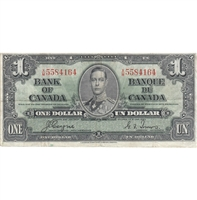 BC-21d 1937 Canada $1 Coyne-Towers, X/M, Fine
