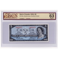 BC-37bA 1954 Canada $1 Beattie-Rasminsky, Replacement, *O/Y, PMG Certified AU-58 EPQ