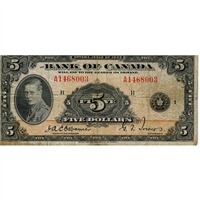 BC-5 1935 Canada $5 English, Osborne-Towers, Very Good