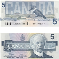 BC-56a 1986 Canada $5 Crow-Bouey, ENS, UNC