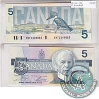BC-56a 1986 Canada $5 Crow-Bouey, ENT, CUNC