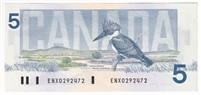 BC-56aA 1986 Canada $5 Crow-Boiuey, ENX, Yellow Back Position Number, AU-UNC