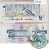 BC-56aA 1986 Canada $5 Crow-Bouey, ENX with Yellow Back Position Number, AU