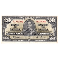 BC-25b $20 1937 Gordon-Towers, E/E, VF