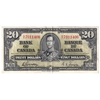BC-25b Canada $20 1937 Gordon-Towers, E/E, VF-EF