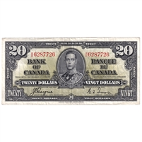 BC-25c Canada $20 1937 Coyne-Towers, K/E, Very Fine