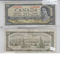 BC-33a 1954 Canada $20 Coyne-Towers, Devil's Face, A/E, VF-EF