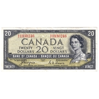 BC-33a Canada $20 1954 Coyne-Towers, Devil's Face, B/E, VF