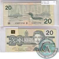 BC-58a-iii 1991 Canada $20 Thiessen-Crow, AIW with Serifs, VF