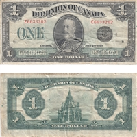 DC-25o Dominion $1 1923 Campbell-Clark, Black Seal, Group 4, F-VF