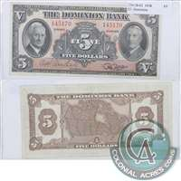 220-28-02 Chartered Misc. 1938 $5 The Dominion Bank, VF