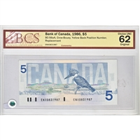 BC-56aA 1986 Canada $5 C-B, ENX Yellow Back Position Number, BCS CUNC-62 Original