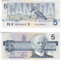 BC-56aA 1986 Canada $5 Crow-Bouey, ENX with Yellow BPN, EF-AU
