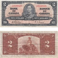 BC-22b 1937 Canada $2 Gordon-Towers, Y/B, Very Fine