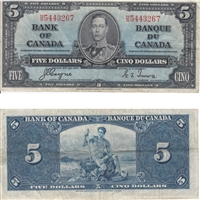 BC-23c 1937 Canada $5 Coyne-Towers, H/S, Very Fine