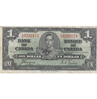 BC-21d 1937 Canada $1 Coyne-Towers, C/N, Very Fine