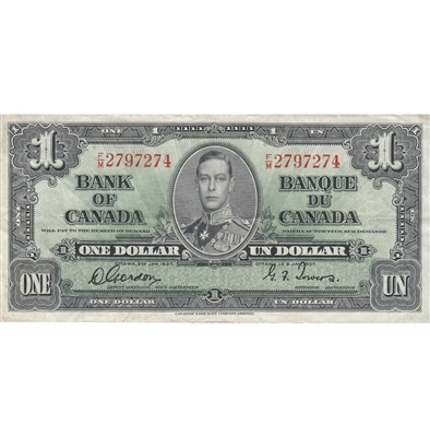 BC-21c 1937 Canada $1 Gordon-Towers, F/M, Very Fine
