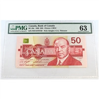 BC-59c Canada $50 1988 Knight-Thiessen, FHT PMG Certified CUNC-63