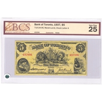 715-24-06 Chartered 1937 Bank of Toronto $5, Marsh-Lamb, BCS Certified VF-25 (Holes)