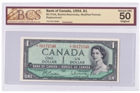 BC-37bA 1954 Canada $1 B-R, Replacement, *O/Y, BCS Certified AU-50, Original