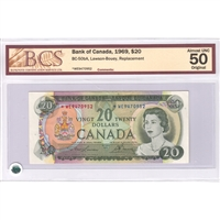 BC-50bA $20 1969 Lawson-Bouey, *WE, BCS Certified AU-50, Original