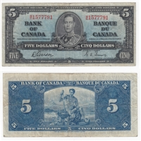 BC-23b 1937 Canada $5 Gordon-Towers, M/C, Fine