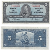 BC-23b 1937 Canada $5 Gordon-Towers, W/C, Very Fine