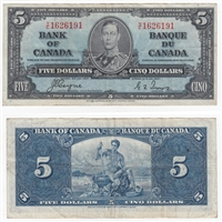 BC-23c 1937 Canada $5 Coyne-Towers, Y/C, Very Fine