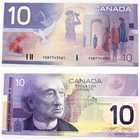 BC-63b 2001 Canada $10 Knight-Dodge, Missing Circle, FEB, AU-UNC