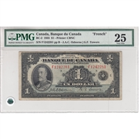 BC-2 Bank of Canada $1 1935 Osbourne-Towers, French, PMG Certified VF-25