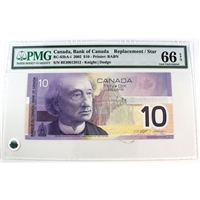 BC-63bA-i Bank of Canada $10 2002 Knight-Dodge, BEI(0.000M-0.045M), PMG Gem UNC-66 EPQ