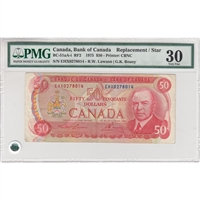 BC-51aA-i, Bank of Canada $50 1975 Lawson-Bouey, EHX, PMG Certified VF-30