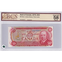 BC-51a-i $50 1975 Lawson-Bouey, Three Letter, EHC, BCS Certified AU-58