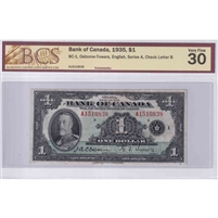 BC-1 Canada $1 1935 Osborne-Towers, English, Series A BCS Certified VF-30 Original