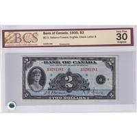 BC-3 $2 1935 Osborne-Towers, Check Letter B, A, BCS Certified VF-30