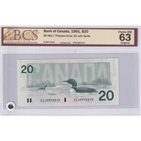 BC-58a-i $20 1991 T-C, EIJ with Serifs Changeover, BCS Certified CUNC-63