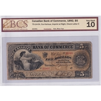 75-14-04 Canadian Bank of Commerce $5 1892 Cox-V, Imprint Right BCS Certified VG-10