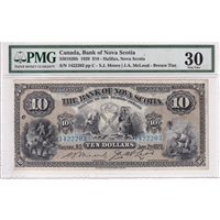 5501820b Bank of Nova Scotia $10 1929 Moore-McLeod, Brown Tint PMG Certified VF-30