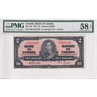 BC-22b Canada $2 1937 Gordon-Towers, S/B PMG Certified AU-58 EPQ