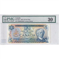 BC-53aT Canada $5 1979 Lawson-Bouey, Test Note PMG Certified VF-30